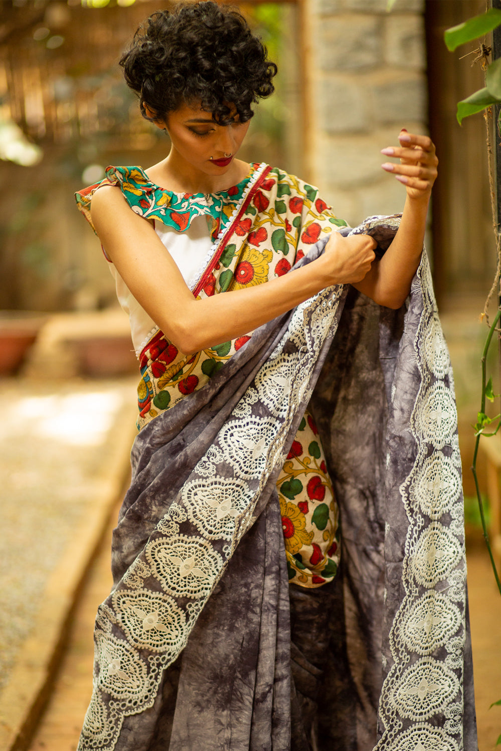 Grey shibori shaded rayon with handpainted Kalamkari border and white lace edging - House of Blouse