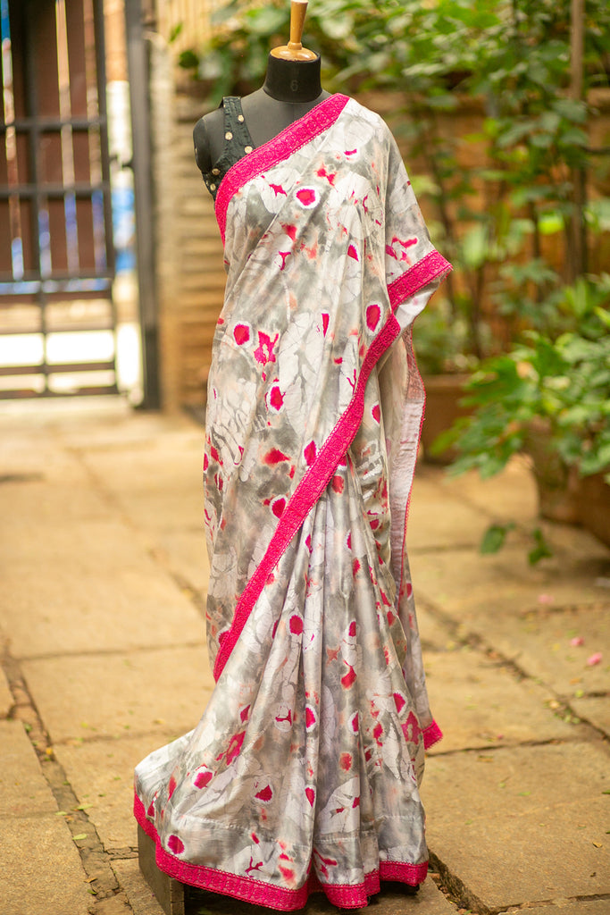 Grey and pink shibori dyed satin saree with pink lace border - House of Blouse