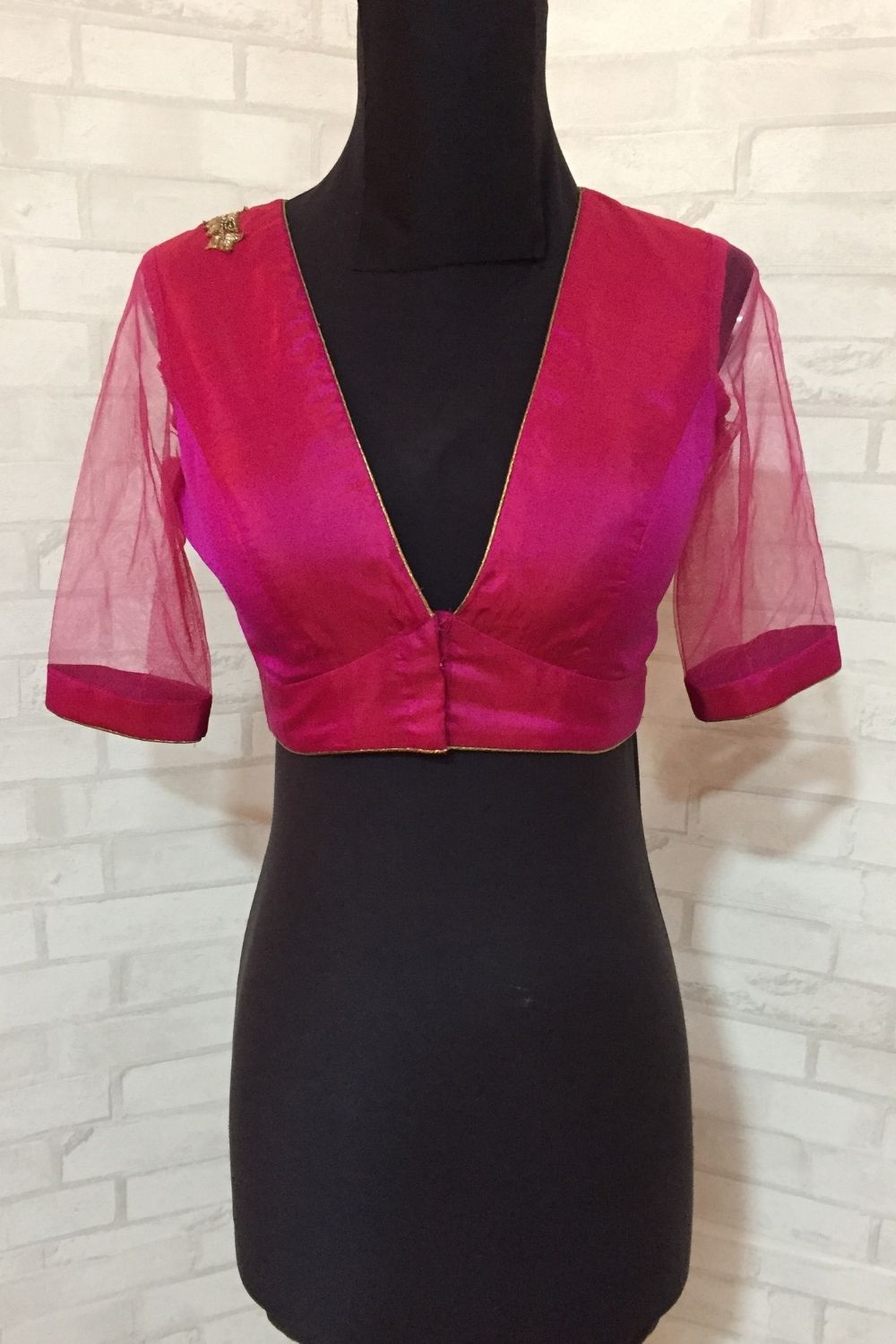 Dark pink silk V neck blouse with applique. - House of Blouse