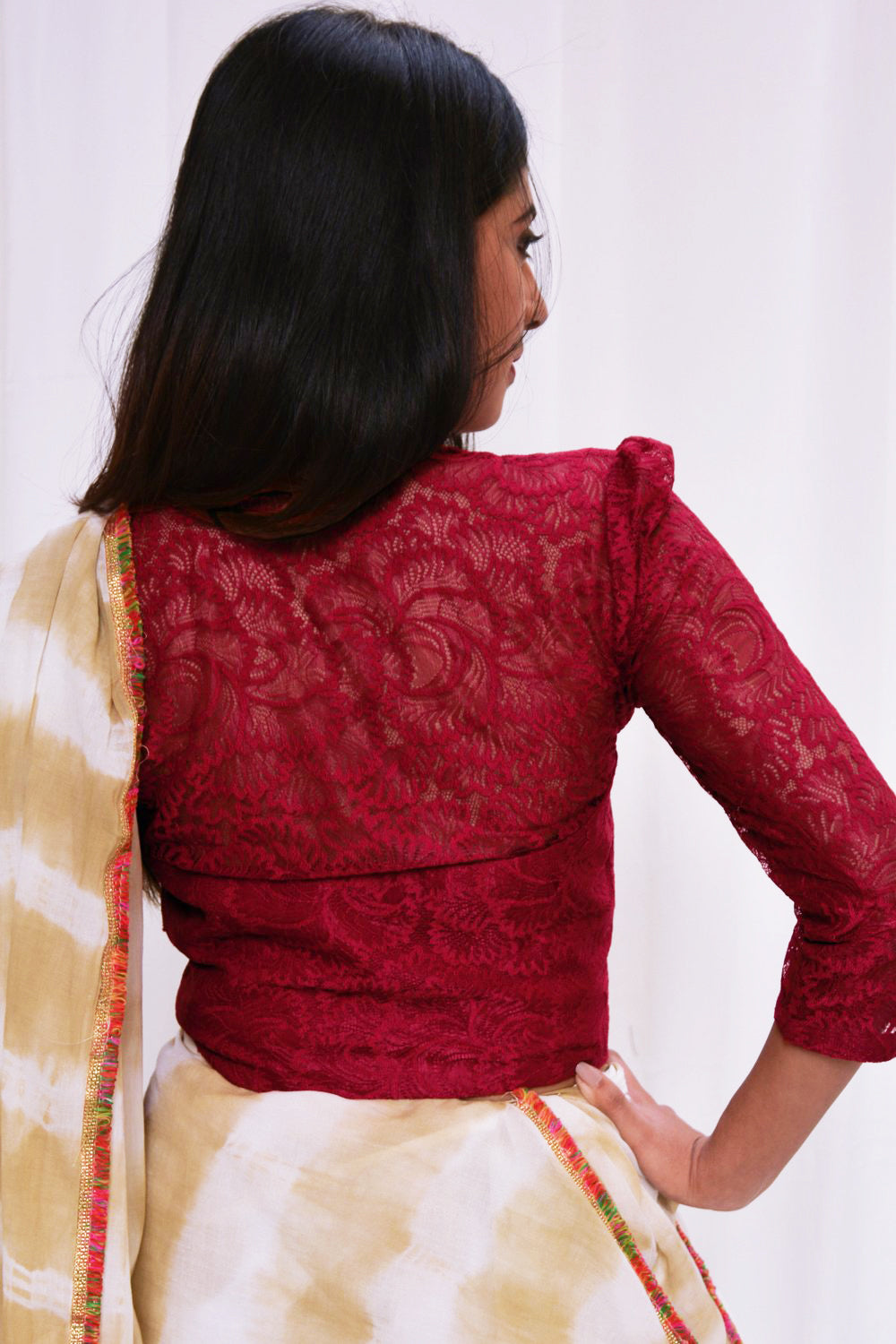 Maroon lace crop top - House of Blouse