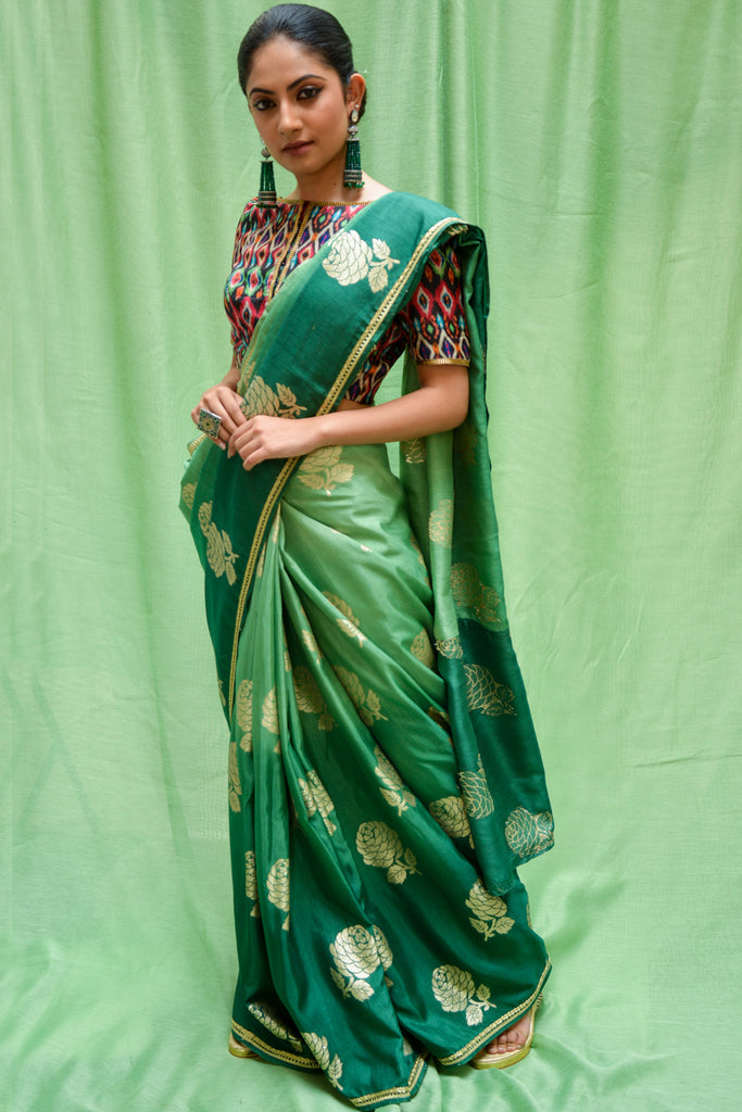 Sea green ombre shaded semi matka silk saree with zari motifs