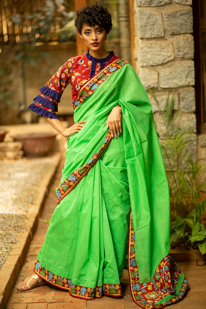 Parrot green handloom cotton saree with handpainted maroon Kalamkari border and frill edging - House of Blouse