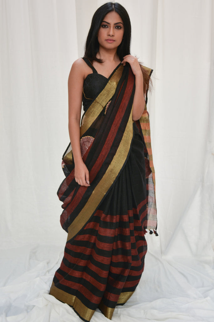 Black and red striped linen saree with peacock appliques - House of Blouse