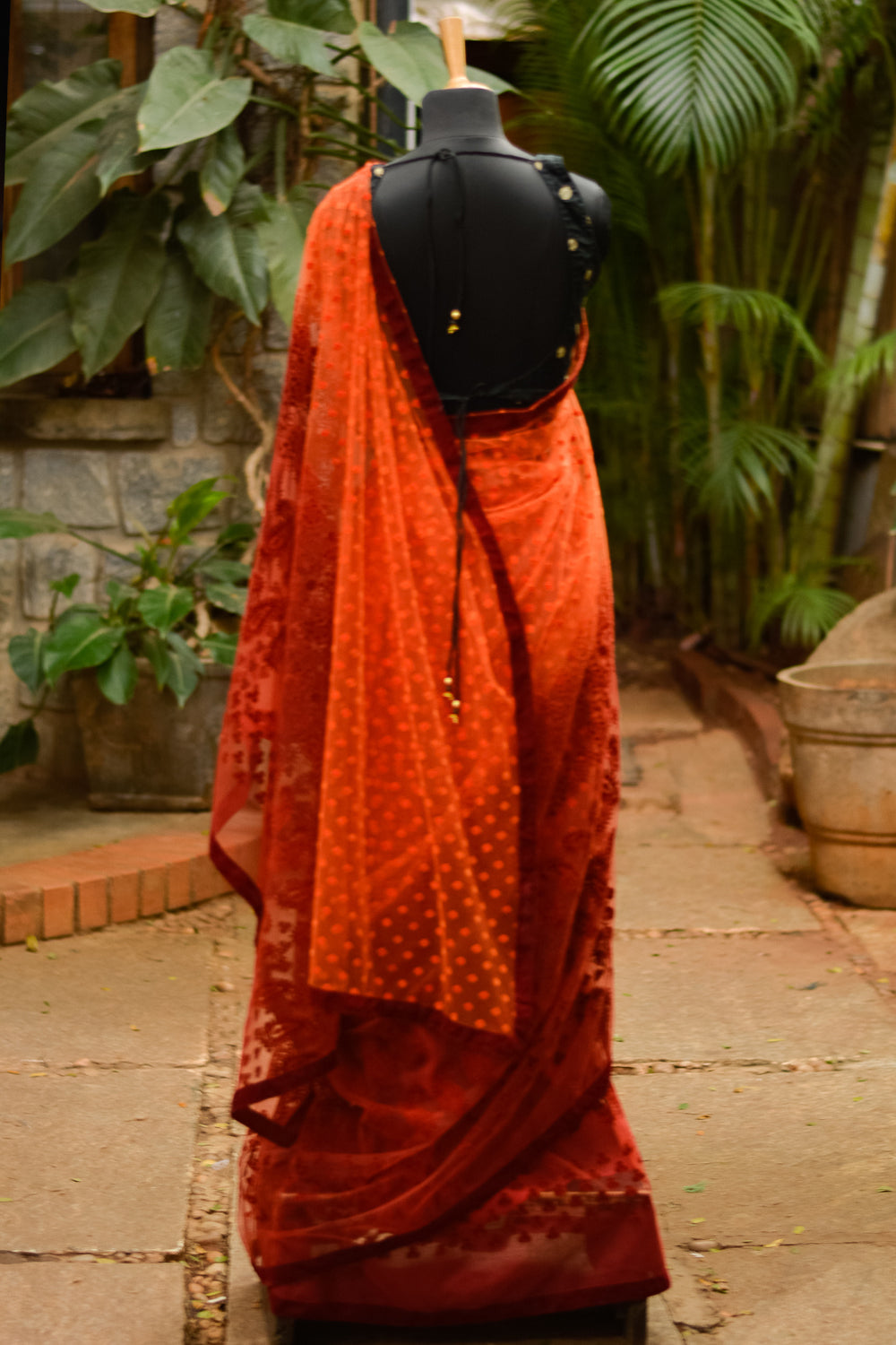 Orange to red shaded soft organza saree with velvet embossing - House of Blouse