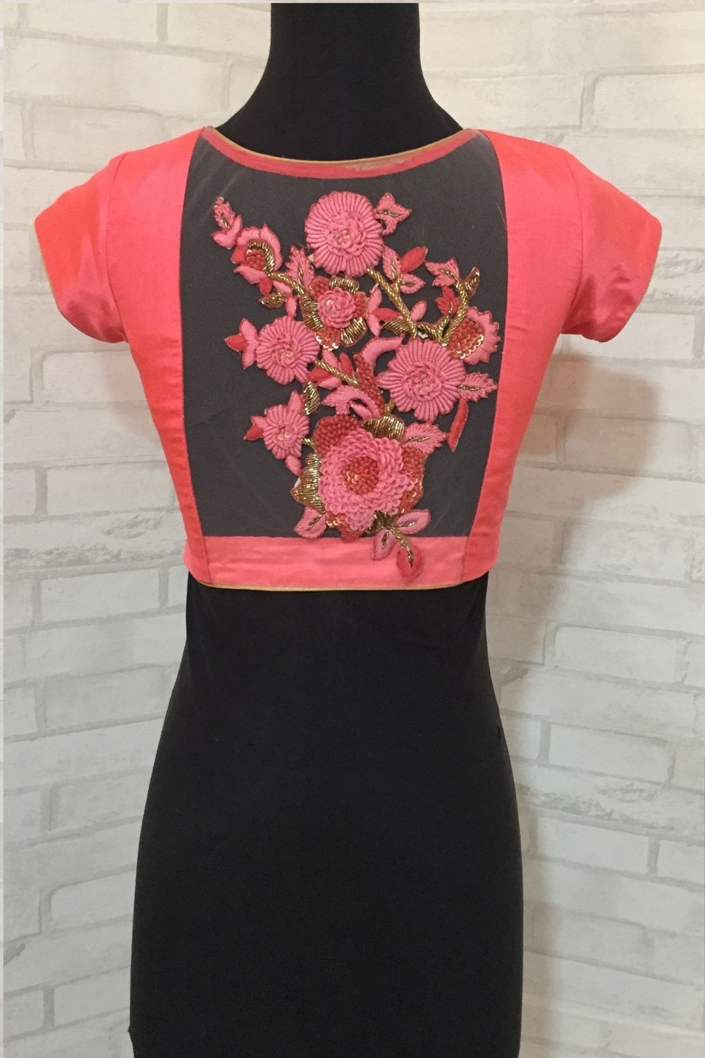 Peach silk V neck blouse with a embroidered sheer back - House of Blouse
