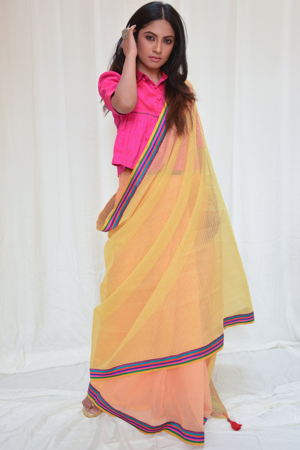 Yellow and orange half and half Kota doria saree with multicolour border - House of Blouse
