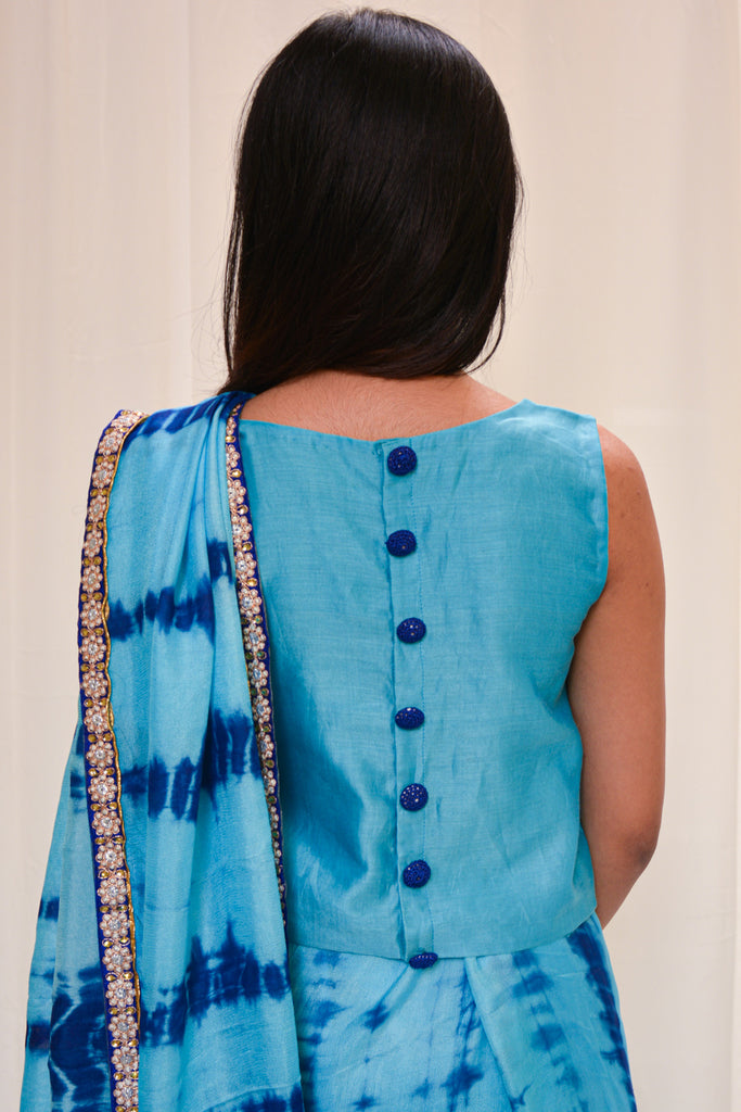 Sky blue chanderi sleeveless crop top - House of Blouse