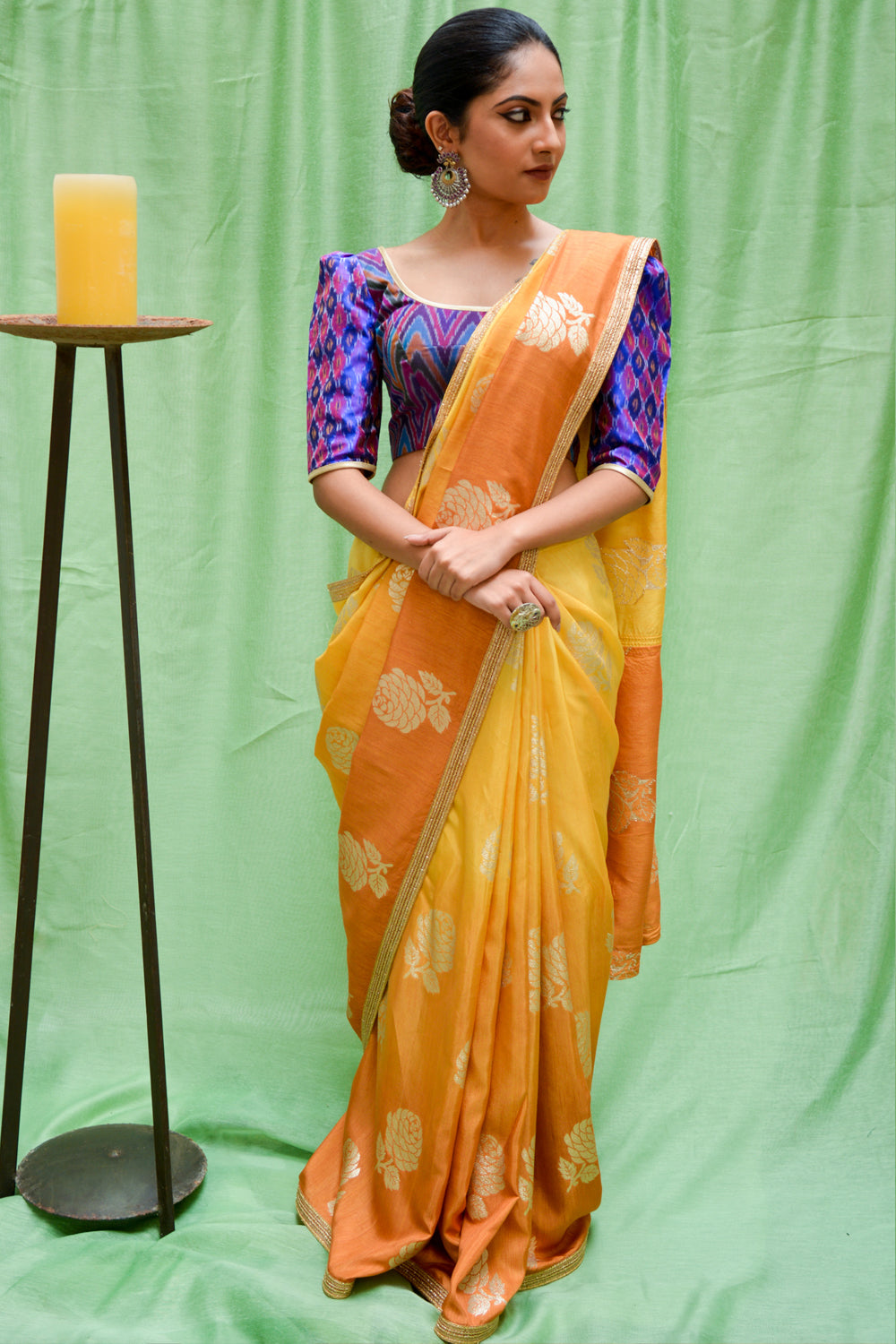 Mustard ombre shaded semi matka silk saree with zari motifs