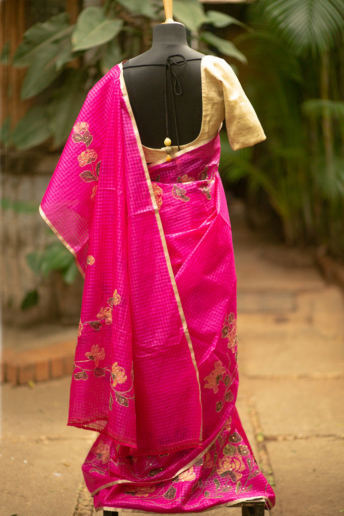 Rani pink checked soft Kota saree with floral painting and zari threadwork - House of Blouse