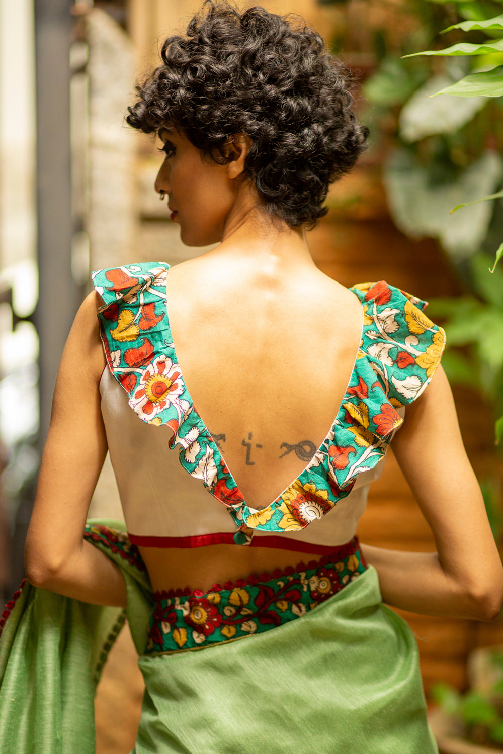 White chanderi sleeveless blouse with kalamkari ruffle detailing + face mask - House of Blouse