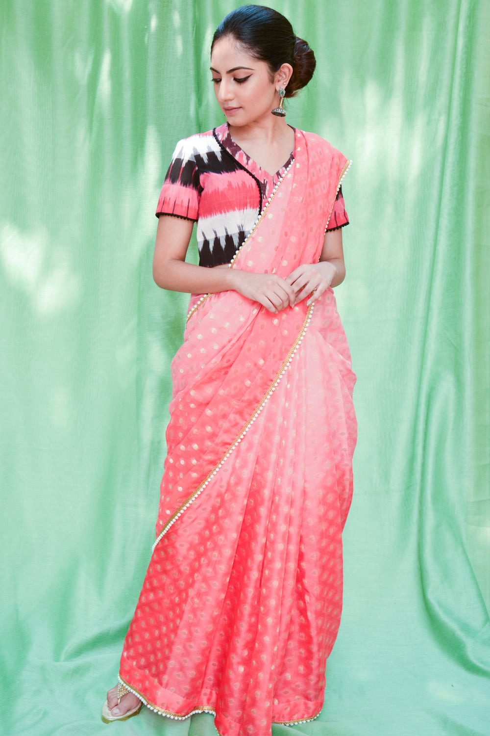 Pink ombre shaded shimmer georgette saree with zari buttis and pearl edging