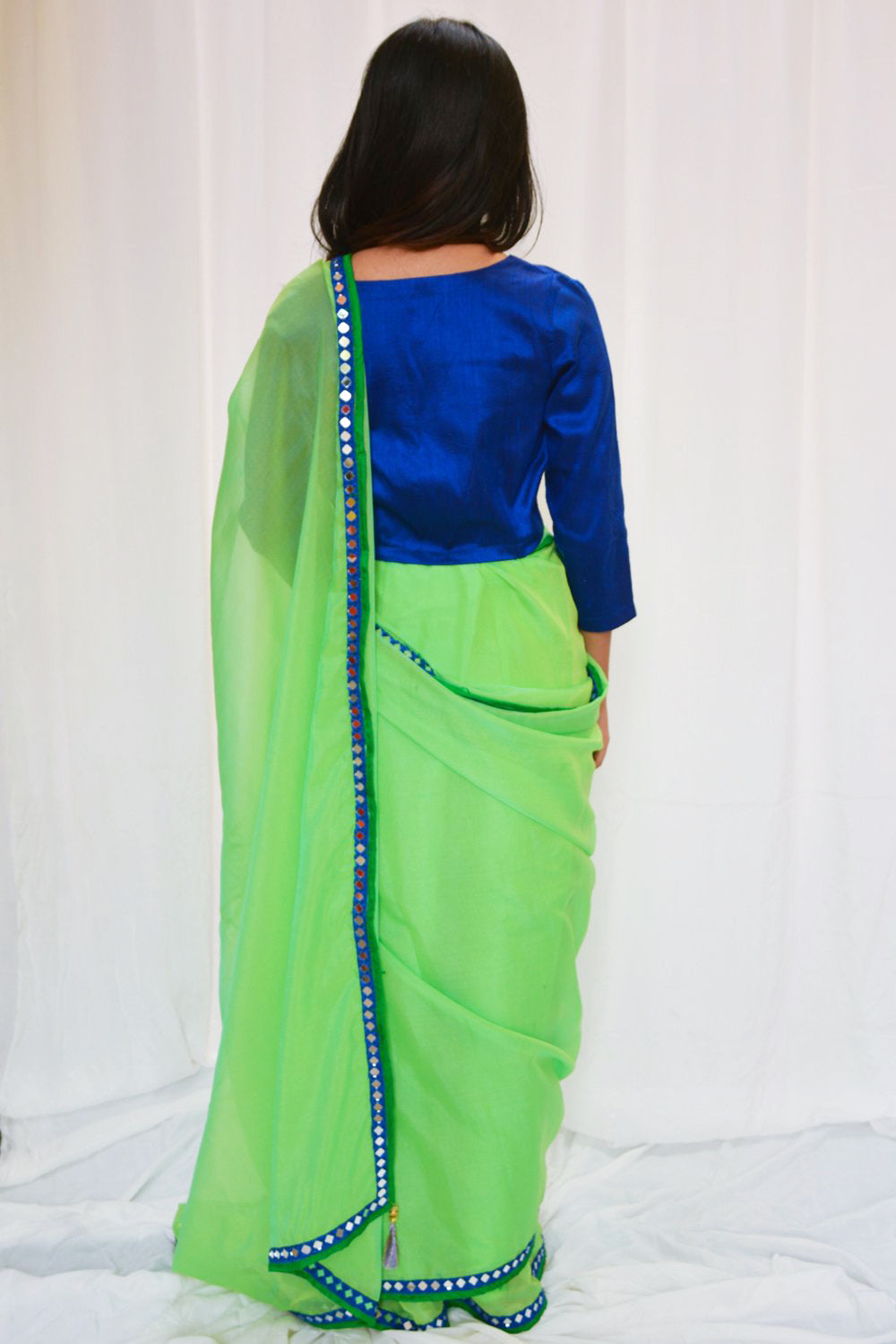 Lime green soft organza saree with blue mirror work embroidered border - House of Blouse