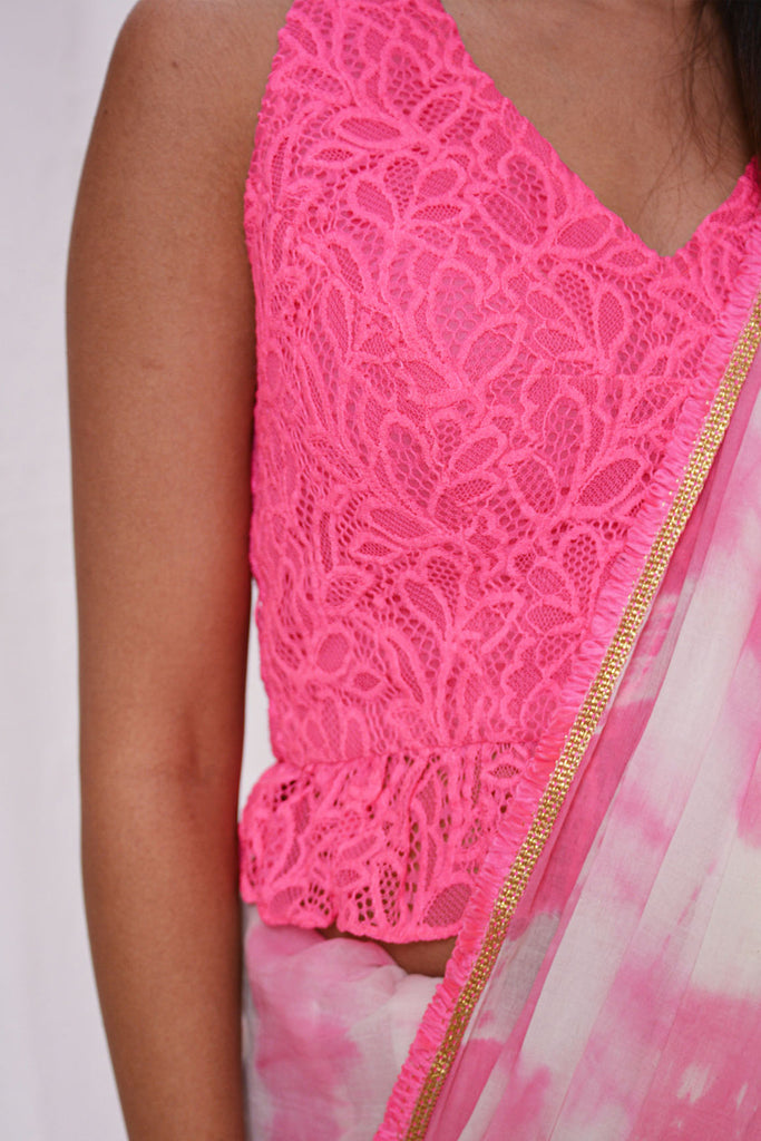 Neon pink lace halter neck croptop - House of Blouse