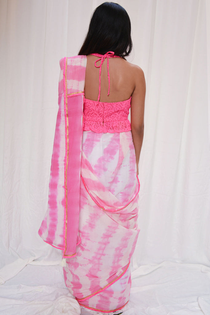 Pink and white shibori shaded mul cotton saree with pink frill edging - House of Blouse