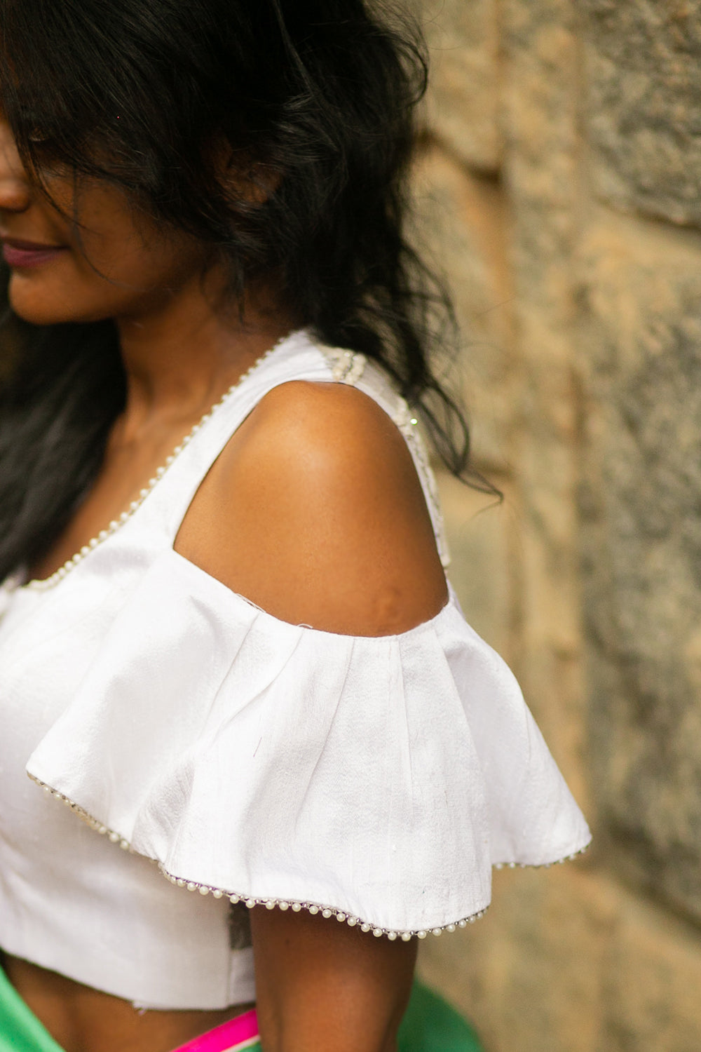 White cold shoulder blouse with lace net back and pearl edging - House of Blouse