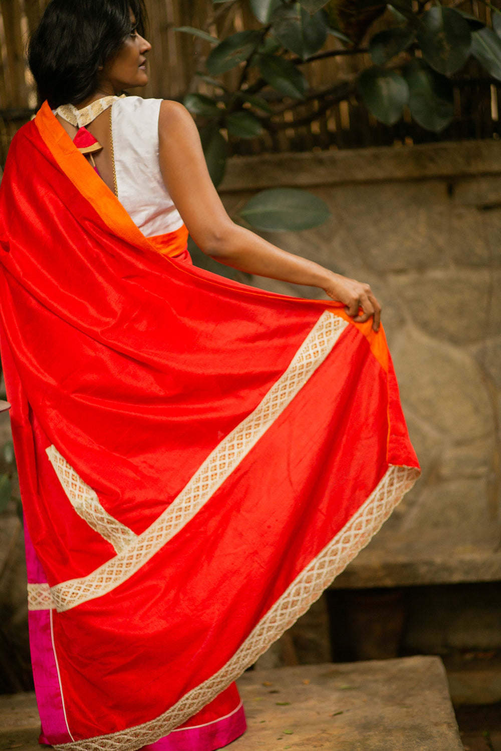 Red raw silk saree with fuchsia and orange borders and disjointed lace detailing - House of Blouse