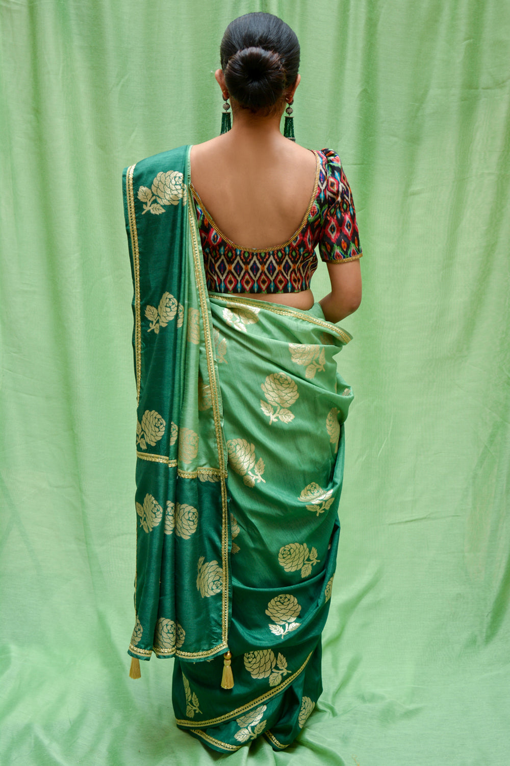 Sea green ombre shaded semi matka silk saree with zari motifs - House of Blouse