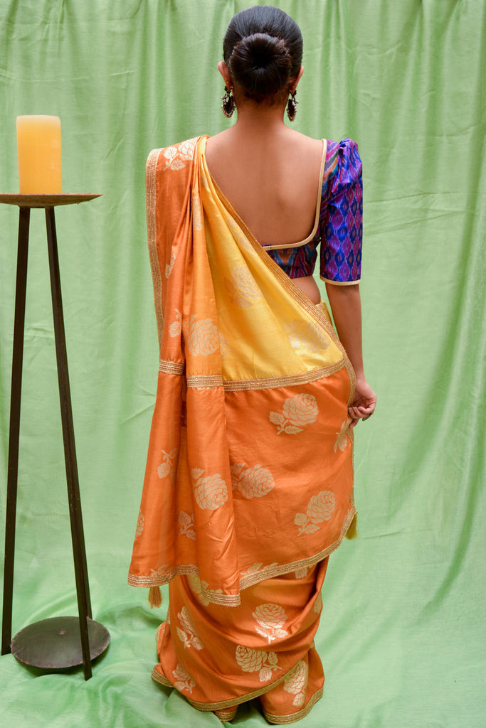 Mustard ombre shaded semi matka silk saree with zari motifs - House of Blouse