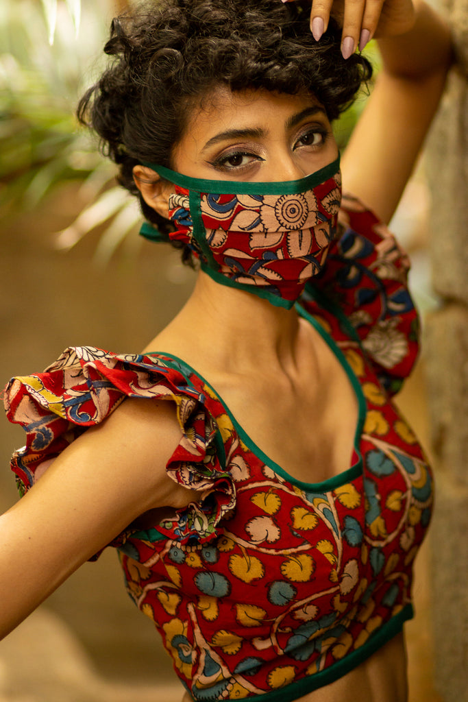 Maroon Kalamkari cotton u neck blouse with ruffle sleeves + face mask - House of Blouse