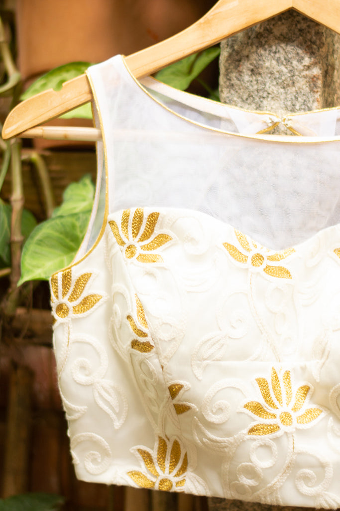 White sheer yoke blouse with lotus threadwork on net and gold piping - House of Blouse