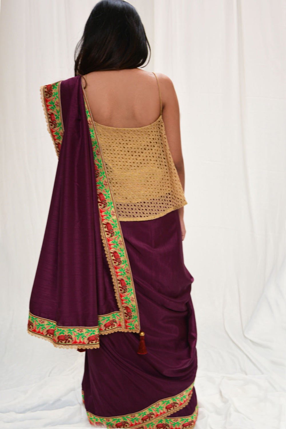 Purple semi matka silk saree with Banaras threadwork border and pink lace edging