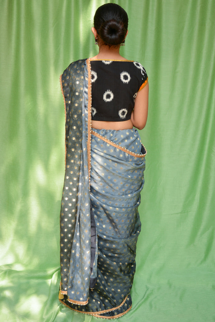 Grey ombre shaded shimmer georgette saree with zari buttis and pearl and gold bead edging - House of Blouse