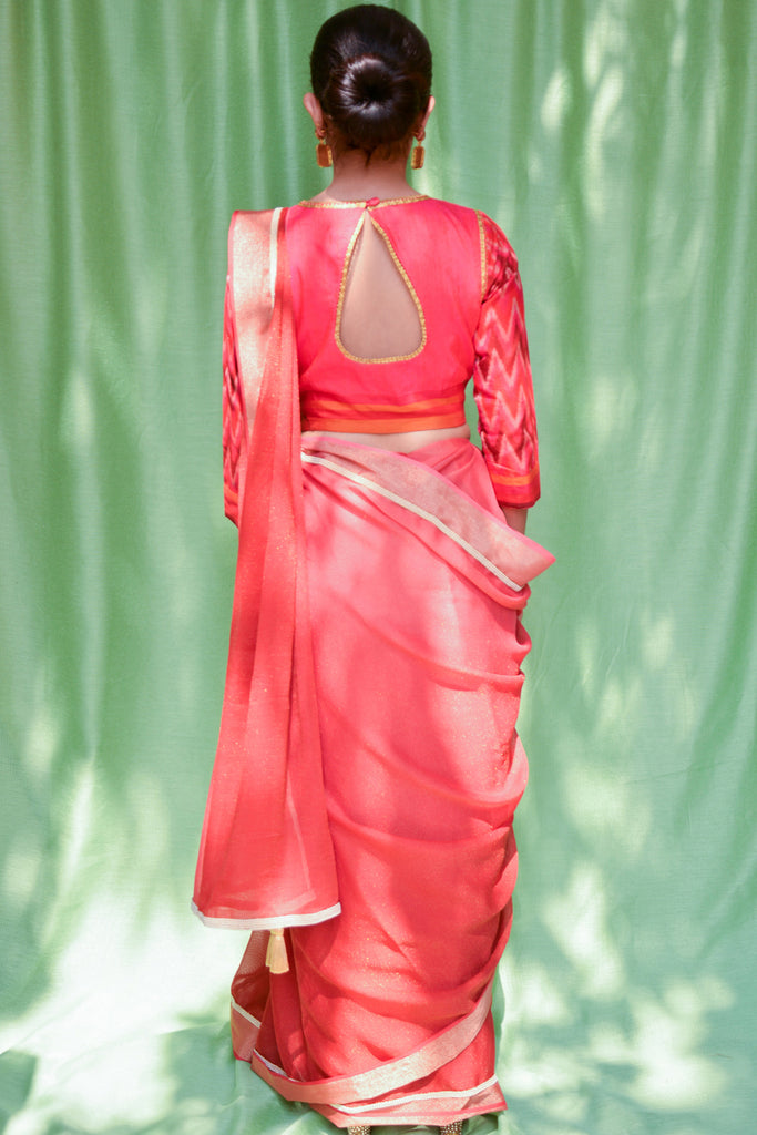 Red ombre shaded shimmer georgette saree with tissue and pearl border - House of Blouse