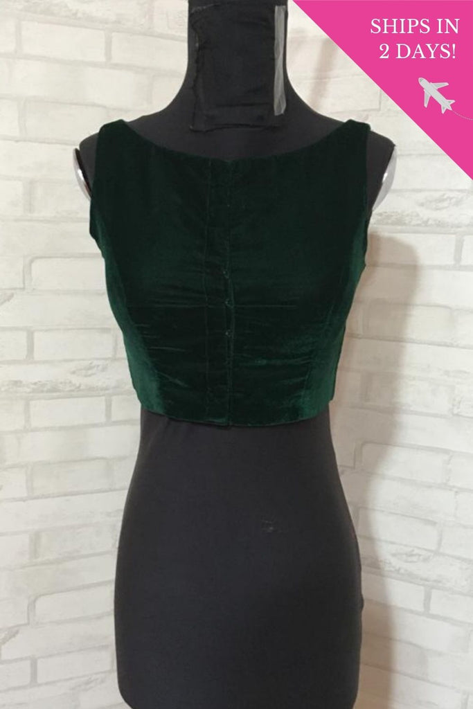 Dark green velvet boat boat neck sleeveless blouse: Size-34 - House of Blouse
