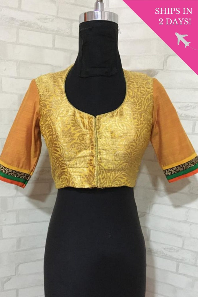 Mustard orange brocade pot neck blouse with sleeve detailing : Size-34 - House of Blouse
