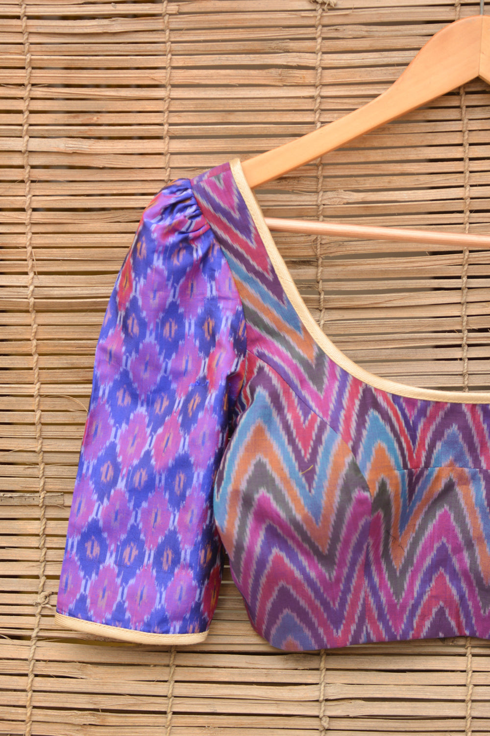 Purple Ikat two fabric blouse - House of Blouse