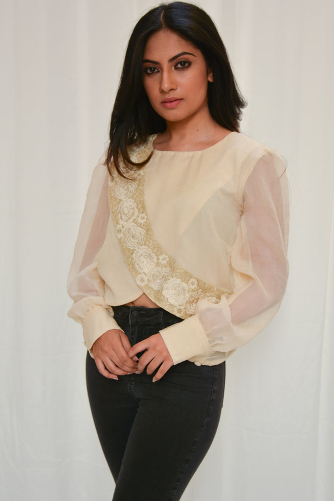 Beige chiffon crop top with bishop sleeves