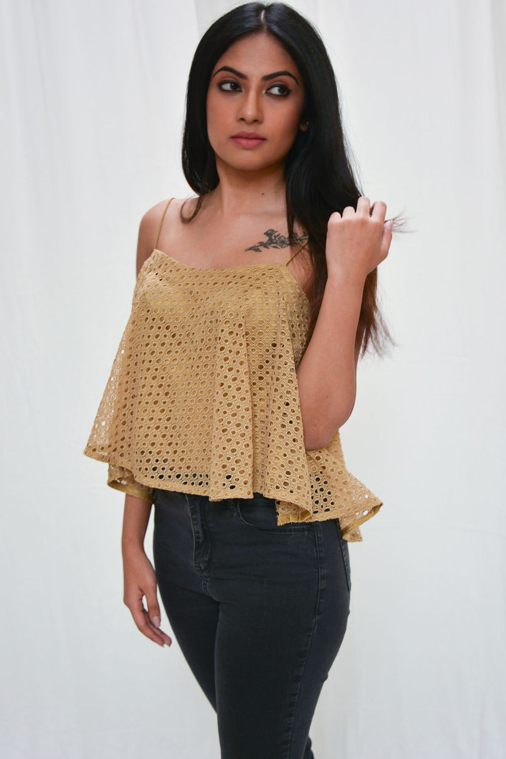 Gold lace trapeze spaghetti strap crop top - House of Blouse
