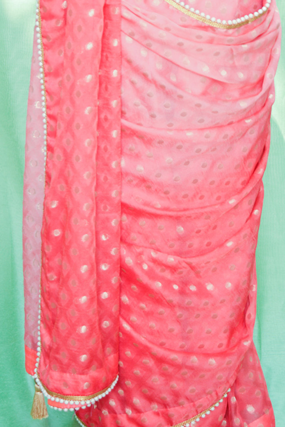 Pink ombre shaded shimmer georgette saree with zari buttis and pearl edging - House of Blouse