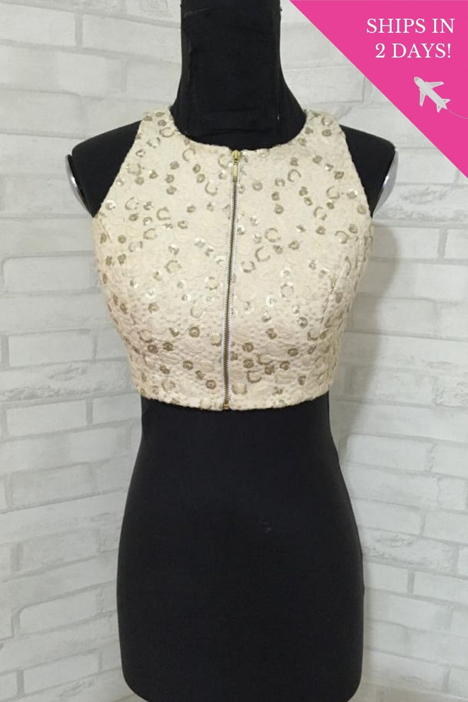 Off white embroidered cotton and gold brocade racer back blouse: Size-34 - House of Blouse