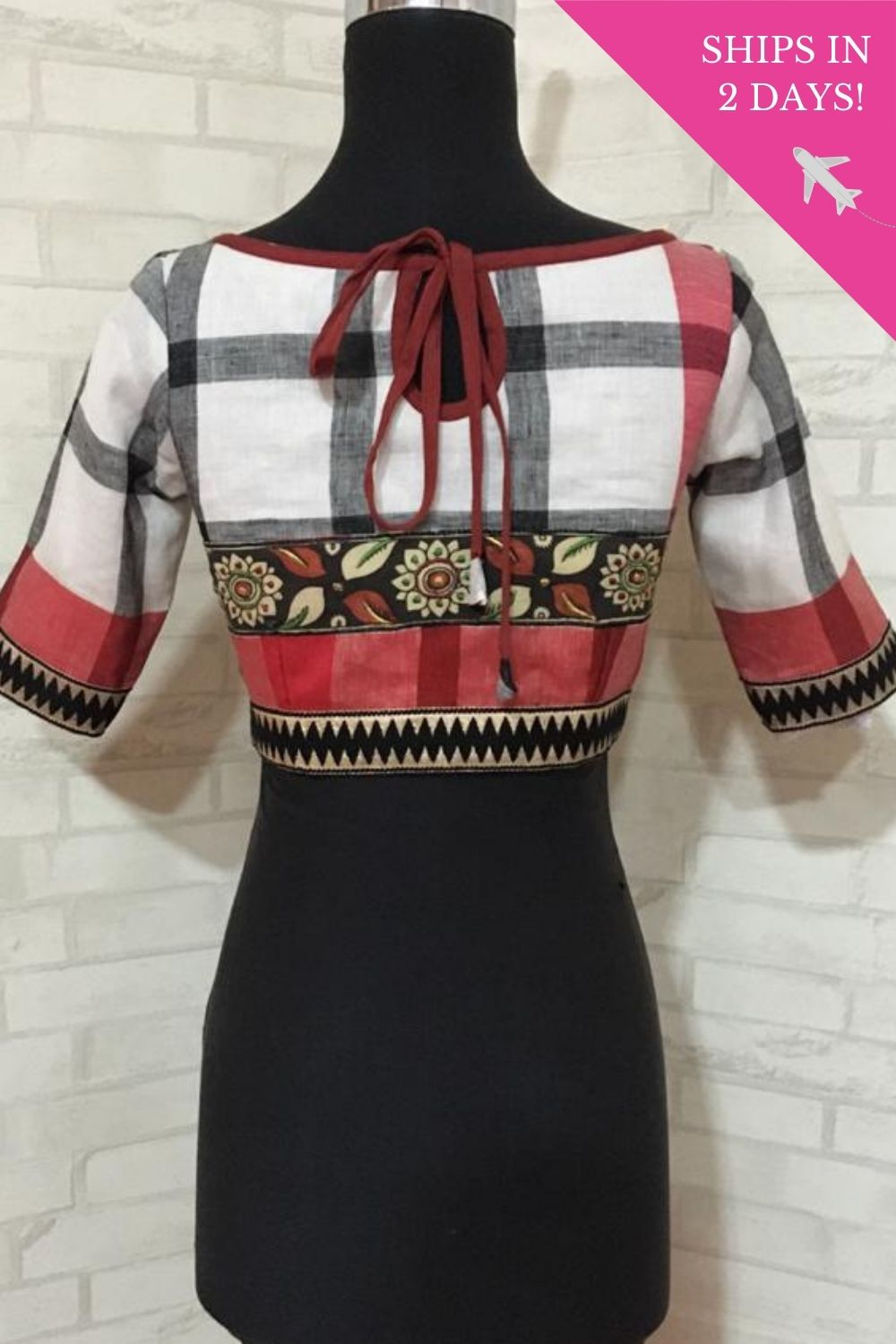 White and black checked linenblouse with embroidered handpainted kalamkari border - House of Blouse