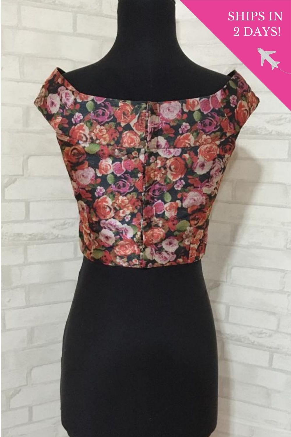 Pink and black floral printed off shoulder blouse: Size-34 - House of Blouse