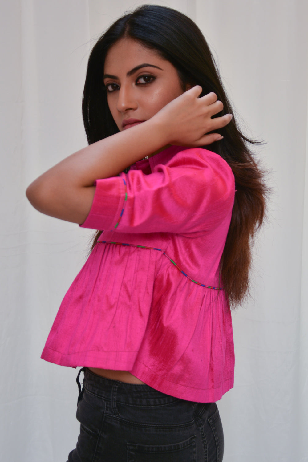 Pink raw silk swing top