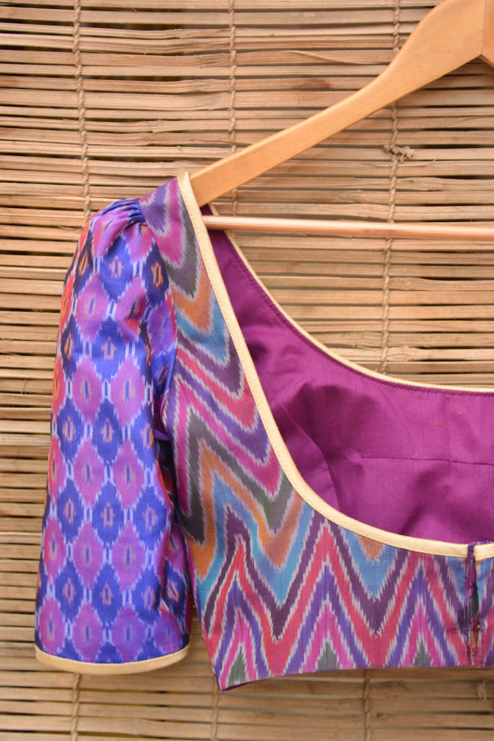 Purple Ikat two fabric blouse