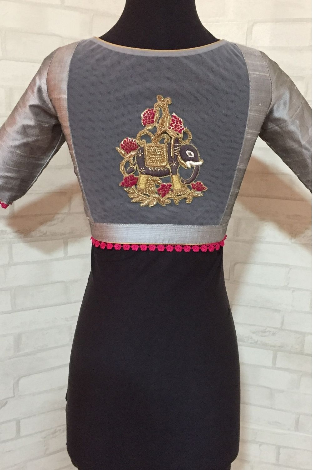 Grey rawsilk sheer back U neck blouse with elephant applique - House of Blouse