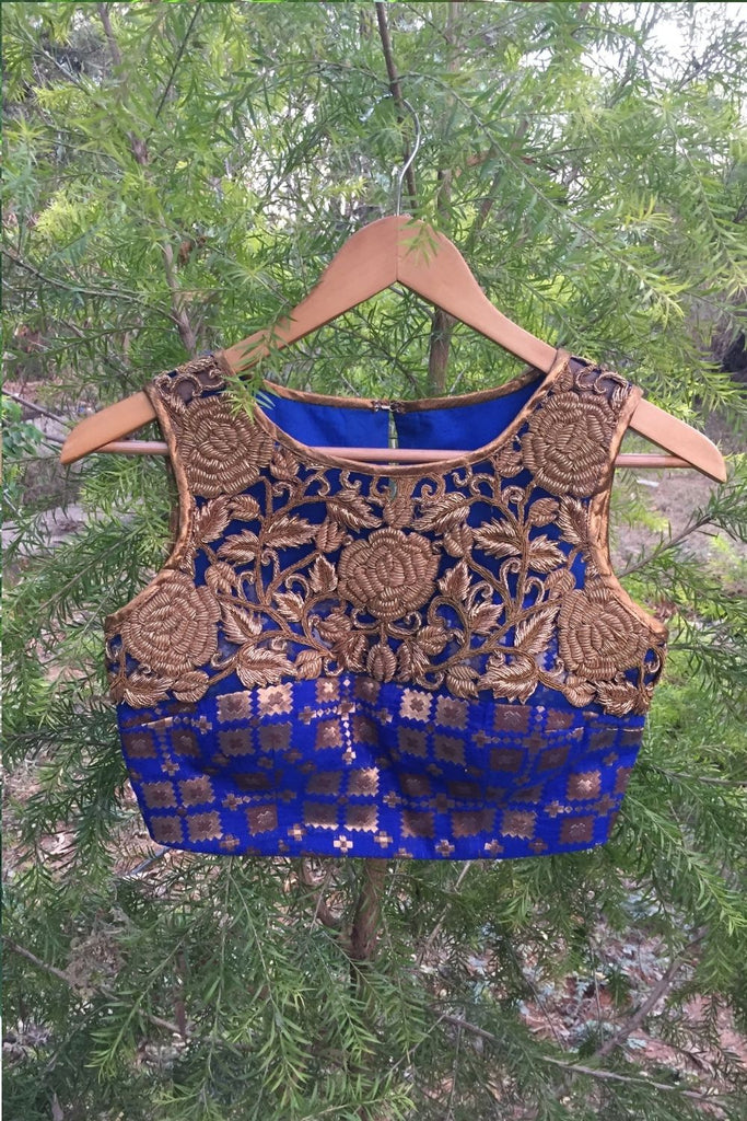 Royal blue borcade Hi neck  sleeveless blouse with rose embellished yoke. - House of Blouse