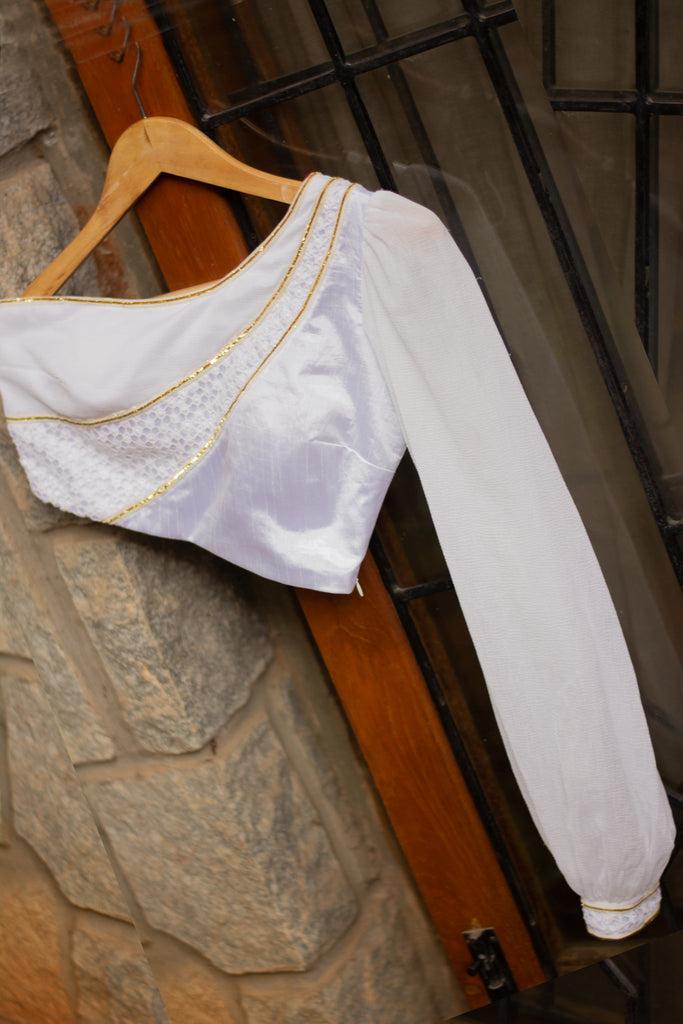 White one shoulder 3 fabric bishop sleeved blouse with gold detailing - House of Blouse