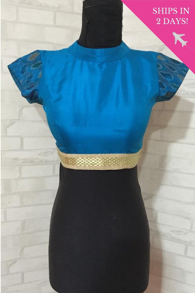 Blue silk high neck blouse with back detailing: Size-34 - House of Blouse