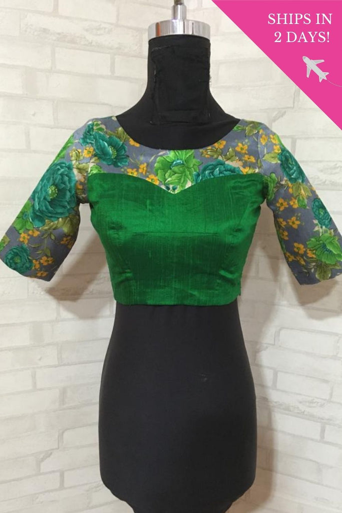 Green & grey floral raw silk Boat neck blouse : Size-34 - House of Blouse