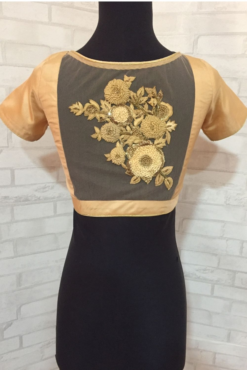 Cream silk V neck blouse with a embroidered sheer back - House of Blouse
