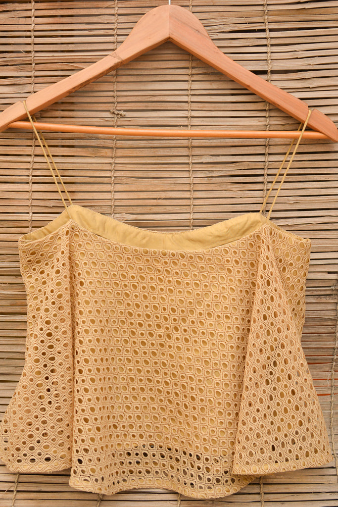 Gold lace trapeze spaghetti strap crop top