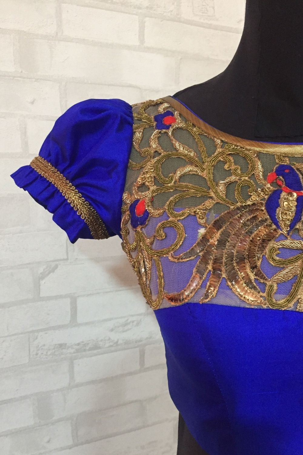 Royal blue pure silk blouse with embellished yoke - House of Blouse