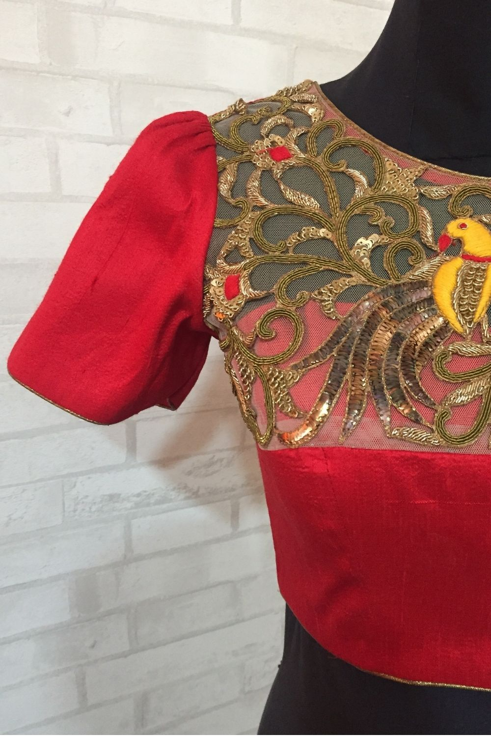Red pure silk blouse with embellished yoke - House of Blouse