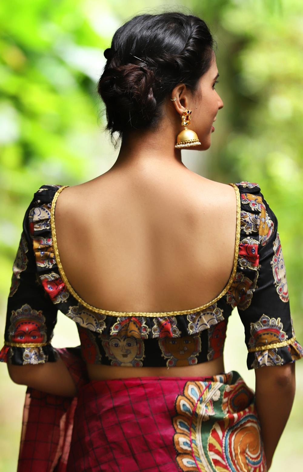 Black embroidered kalamkari semi silk blouse with vintage ruffles - House of Blouse