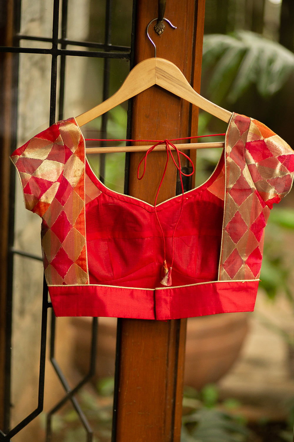 Red pure silk and multicolour tissue arm band blouse with gold piping - House of Blouse