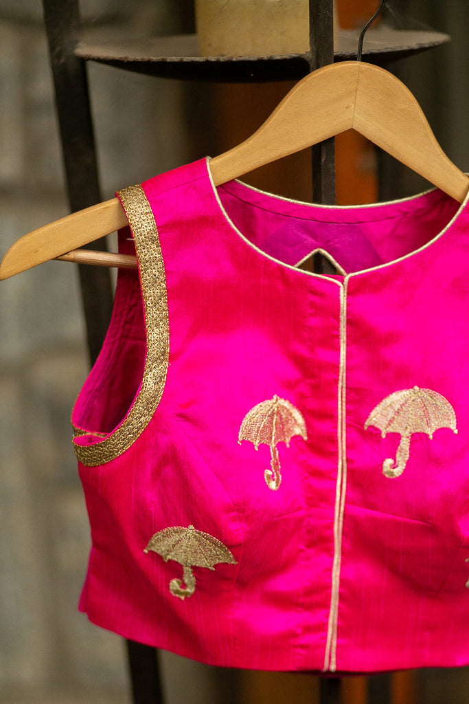 Pink raw silk sleeveless blouse with gold threadwork embroidery and gold sequin border - House of Blouse